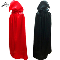 Freeshipping Red Black Cape With Hood Halloween Costumes For Women Men Fantasia Fancy Mardi Gras Carnival