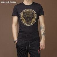 Rivet rhinestone leopard pattern fashion slim short sleeve t shirt Summer 2017 New high quality cotton t shirt men M 4XL UP001