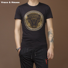 Vrace & Hmase Rivet rhinestone leopard pattern slim short sleeve t-shirt cotton