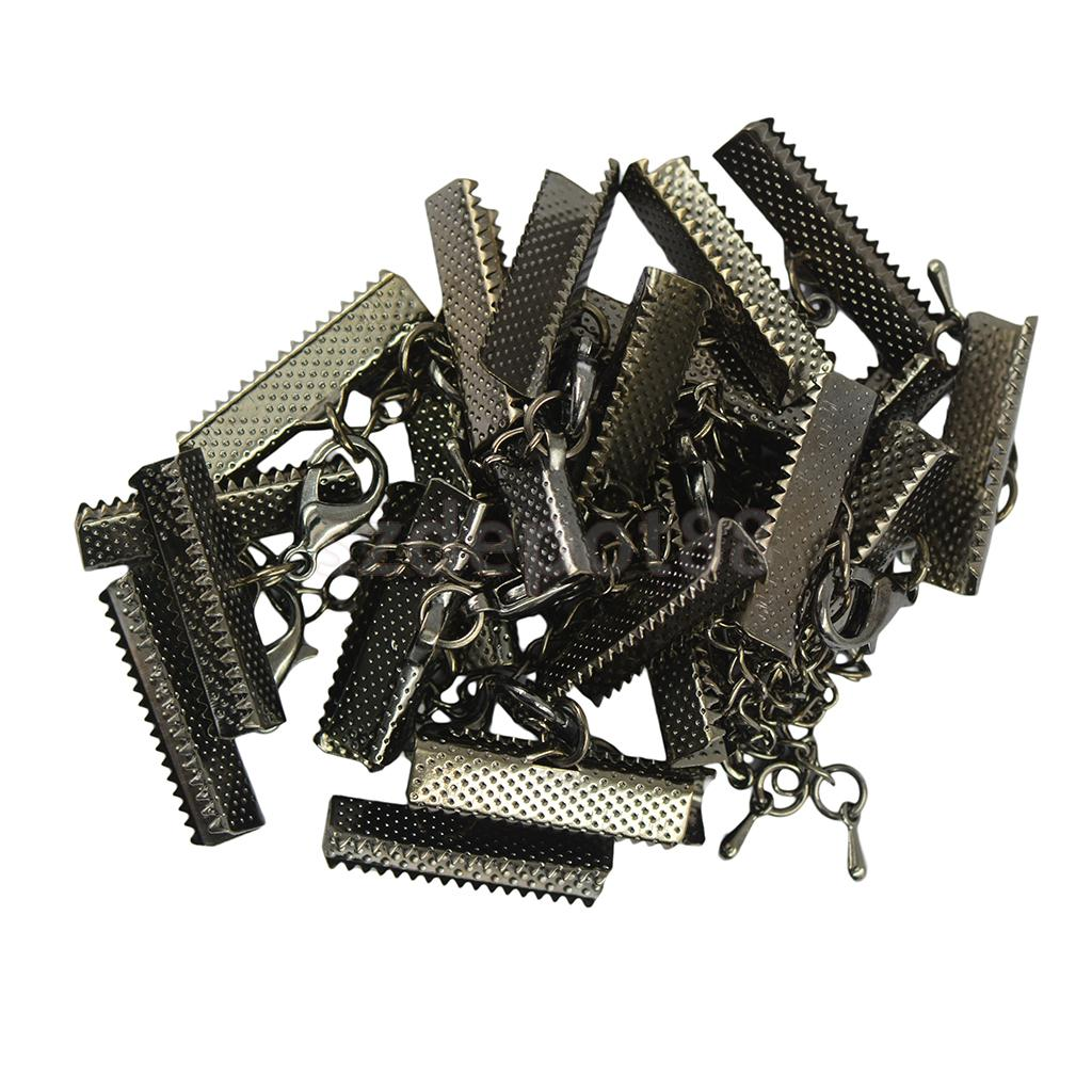 12Pcs Crimp Clips Ends Lobster Clasps Extender Chain Crafts DIY Fashion Jewelry Findings