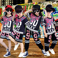 Niños Chica Modern Jazz Dance Hip Hop Traje Competencia Kid Desgaste de la danza Ropa Ropa de Baile Pantalones Cortos de la Camiseta Pantalones trajes