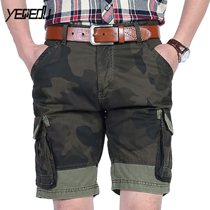 #3732 Camouflage cargo shorts men Fashion Casual Military shorts Multi-pockets shorts for men Joggers short masculino Summer2018