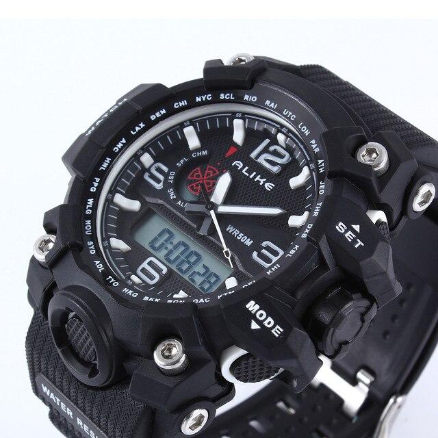 2016 Новый Alike Марка Мужчины СВЕТОДИОДНЫЙ Цифровой Армии Военные Часы 50 М Dive Плавание Спортивные Часы Открытый Наручные Часы montre homme