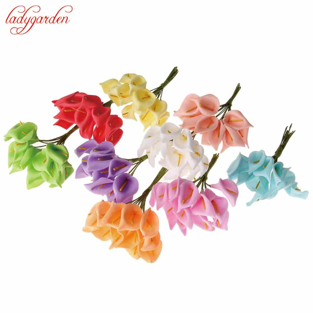 Online buy wholesale calla lily flowers from china calla lily 120pcslot head multicolor handmade pe foam calla lily flower bouquet scrapbooking artificial lily dhlflorist Choice Image