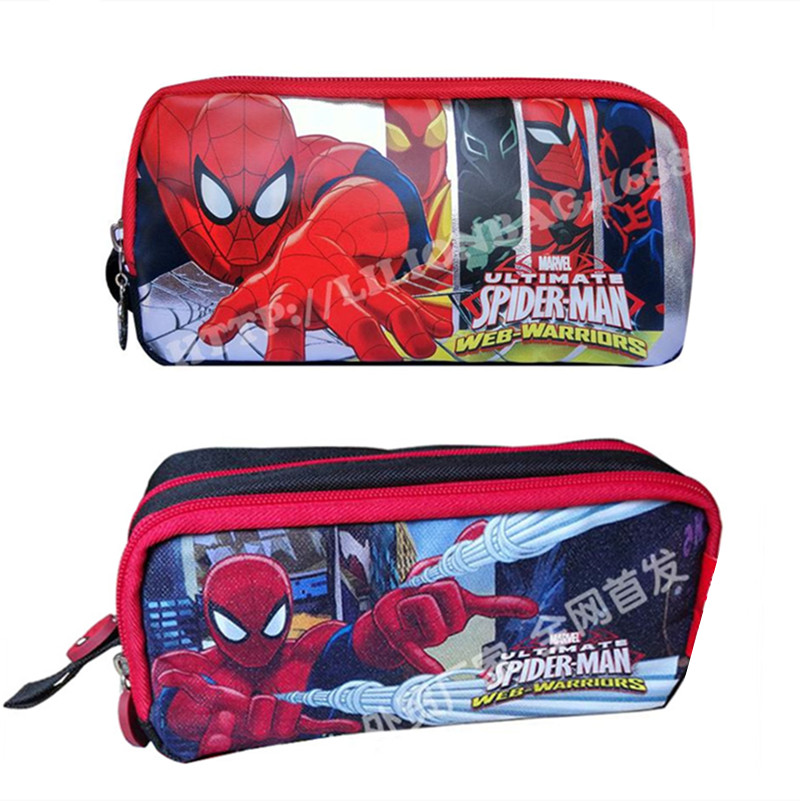 Cute Cartoon Spiderman Student School Double Dual Compartment Pencil Case  Pen Bag Pouch Pencilcase For Boys