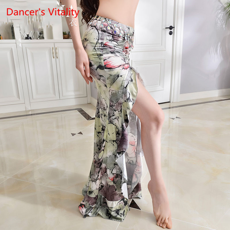 New Practice Belly Dance Costume Milk Silk Flower Elegant Long Skirts