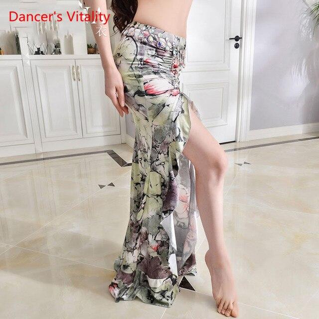 New Practice Belly Dance Costume Milk Silk flower elegant Long Skirts