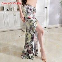 Nueva práctica danza del vientre traje leche seda flor faldas largas elegantes