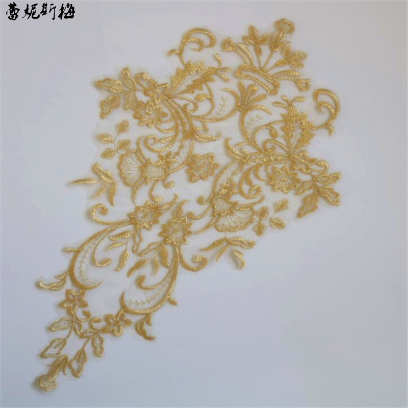 1Pc Light Gold Champagne Gold European Gold Flowers Handmade Flowers Embroidered Lace Applique Fabric 43X27cm BD0590