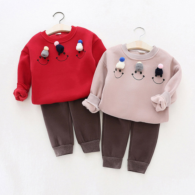 Autumn winter Baby Girls Clothing set Lovely Children's Clothing 2PCS Thicken Long Sleeve Smile Face Blouse Tops + Pant Sets