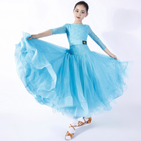 New Girls Ballroom Dress Lace Mid Sleeve Kids Modern Dancing Clothes Waltz Flamenco Ballroom Dance Competition Dresses DNV10238