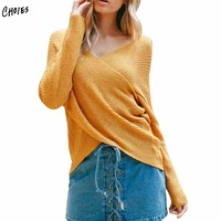 Yellow Sexy Cross Up Wrap Front Knit Sweater White Women Long Sleeve High Street Style V Neck Pullover Autumn Jumper