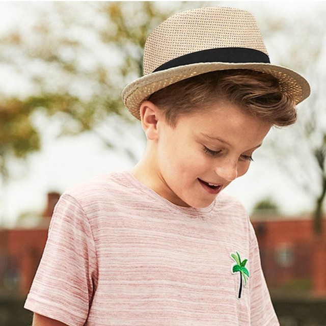 Children Kids Summer Beach Straw Hat Jazz Panama Trilby Fedora Hat Gangster Cap  Children s Belt Sun Hat Topper Sun Hat 455d0a9cc24b