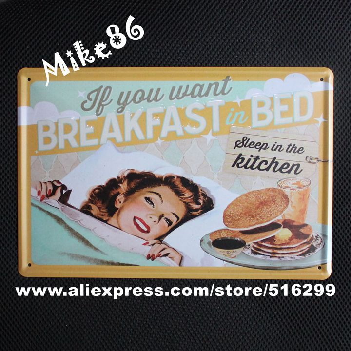 [ Mike86 ] If you want Breakfast Bed Metal Poster Retro Pub Home Craft Decor Vintage Wall art Painting 20*30 CM Mix Items A-1053