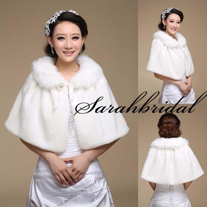 Nueva Faux Fur envolturas blancas encogen boda chales y abrigos ...