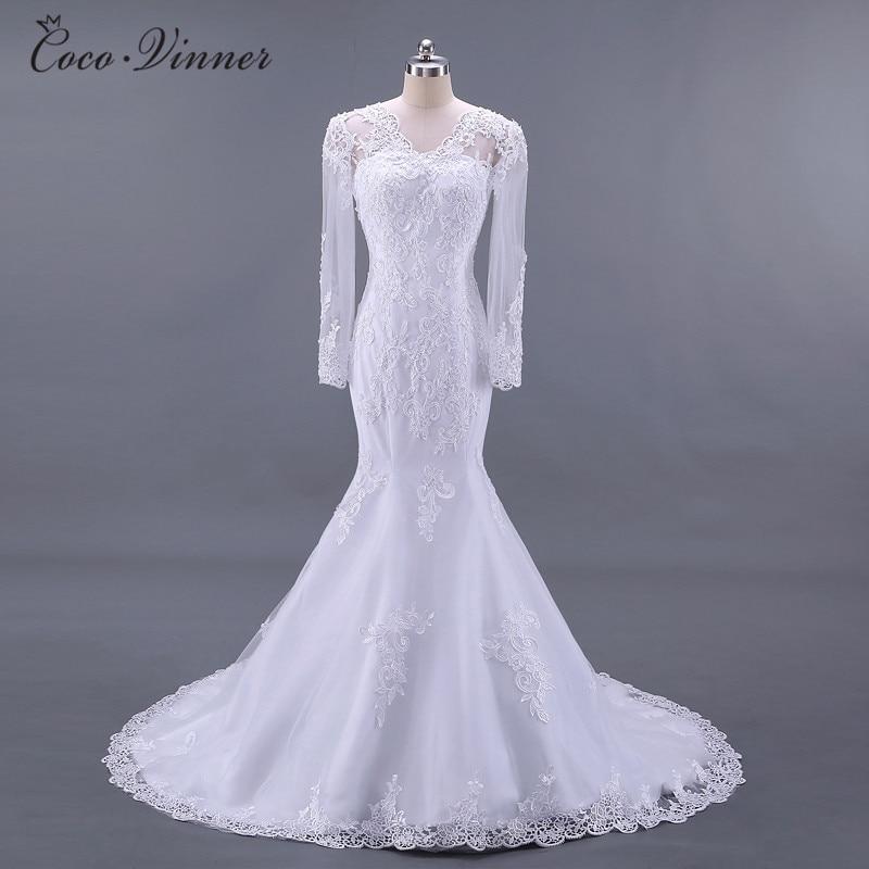 C.V Long Sleeves See Throught Back Elegant Mermaid wedding dresses vestido de noiva Lace Embroidery Bride wedding-dress W0217