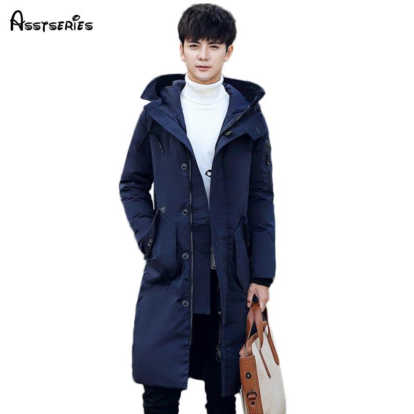 Бесплатная доставка 2018 зима Для Мужчин's Подпушка куртка теплая куртка-пуховик Для мужчин с длинным Зимняя верхняя одежда утепленное пальто...