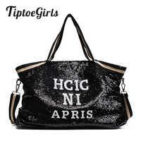 Lantejoulas bolsas femininas feminino grande capacidade superior-alça sacos apliques bolsas da senhora nacional casual tote menina mensageiro sacos