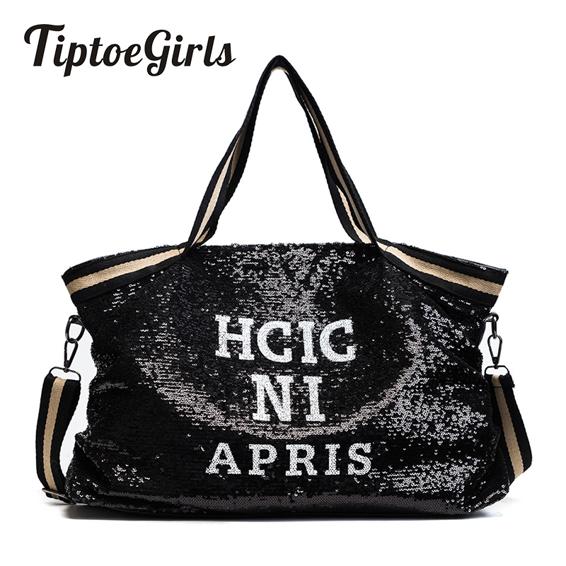 Sequin Women Bags Female Large Capacity Top-handle Bags Appliques Lady's Handbags National Casual Tote Girl Messenger Bags