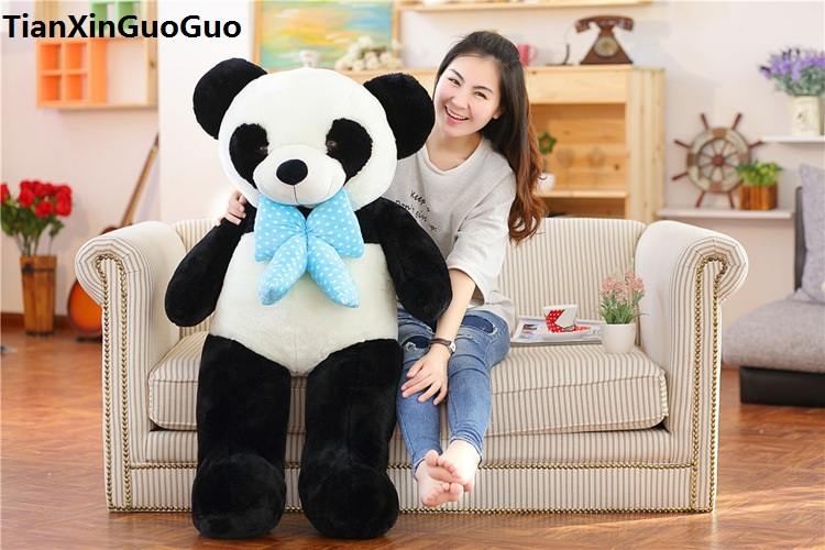 stuffed toy huge 120cm cute panda plush toy bowtie panda soft doll hugging pillow birthday gift s0529 lovely giant panda about 70cm plush toy t shirt dress panda doll soft throw pillow christmas birthday gift x023