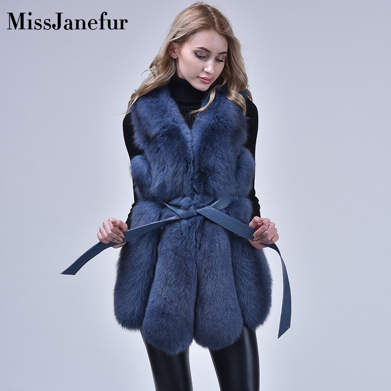 New Winter Coat Women Real Fox Fur Coat Plus Size Women V Collar Sleeveless Genuine Fur Jacket Fur Gilet