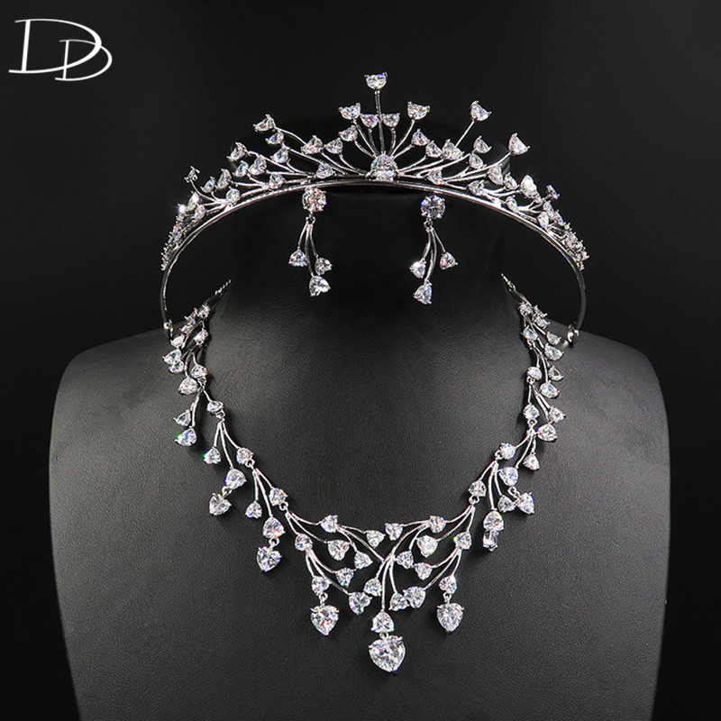 DODO Promise All Heart AAA Zircon Tiara Necklace Earrings Wedding Jewelry Sets Environmental Copper Silver Color Bijoux D15357DODO Promise All Heart AAA Zircon Tiara Necklace Earrings Wedding Jewelry Sets Environmental Copper Silver Color Bijoux D15357