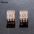 NEWSKY Delicate Gold/Rose Gold Plated Cubic Zircon Stone Engagement Bride Wedding Crystal Earring For Women Brincos #E613-03