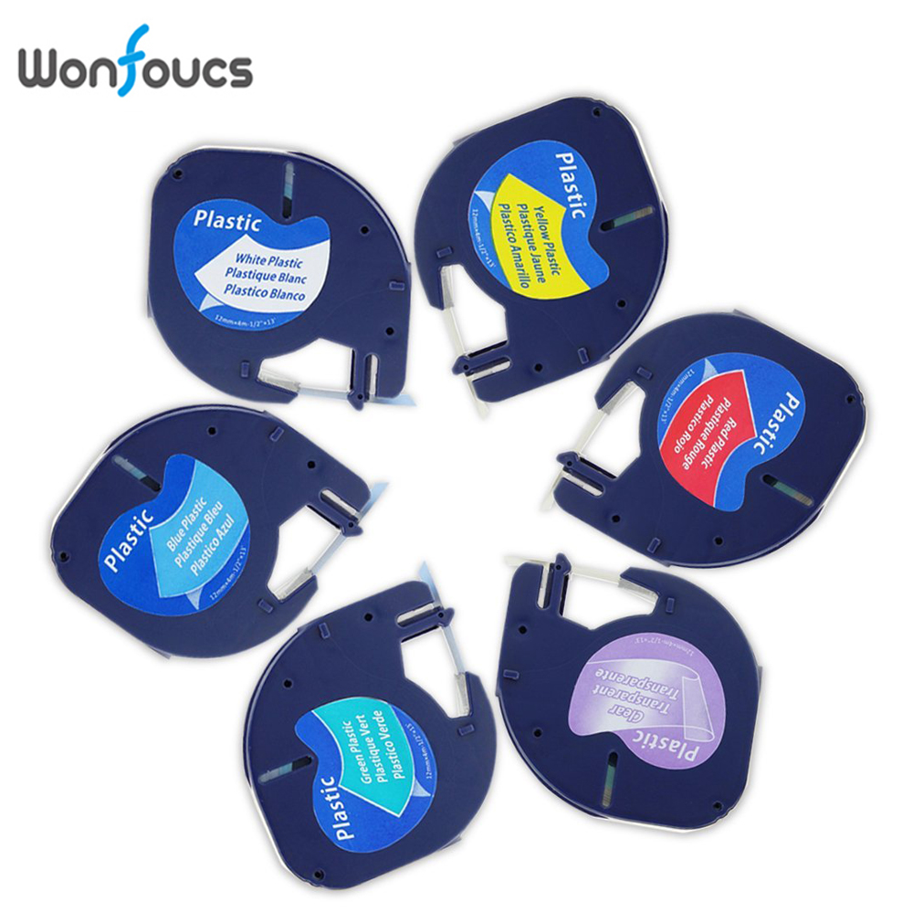 Wonfoucs 6 Colors Compatible Dymo LetraTag Label Tapes LT 91201 91204 91331 16952