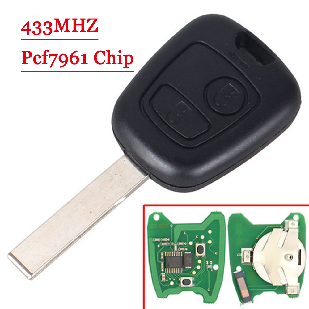 Free Shipping (1piece)replacement 433MHz ID46 Chip 2 Buttons Car Remote Key Fob For Citroen C1 C3 Uncut Hu83 Blank Blade