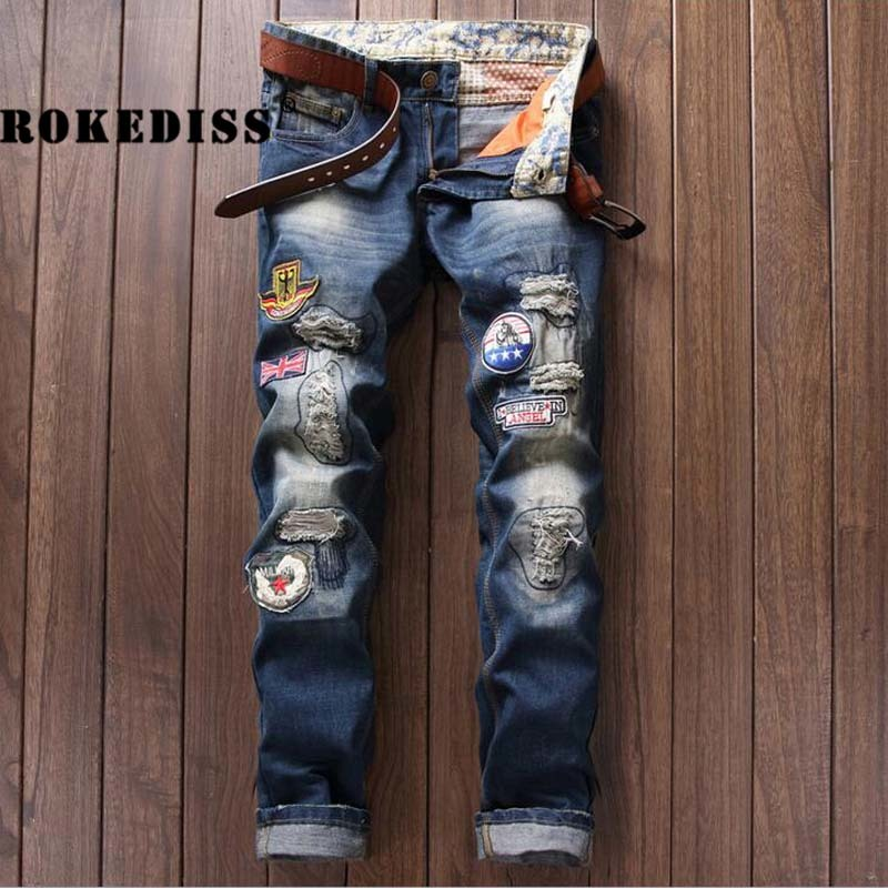 Foreign Trade European Fashion Tide Pants Urban Directly Canister Self-cultivation Badge Male men jeans masculino casual A184