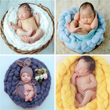 Flokati Newborn Photography Props for Photo Shoot Hand-woven Twisted Blanket Icelandic Hair Baby Posing Sofa Studio