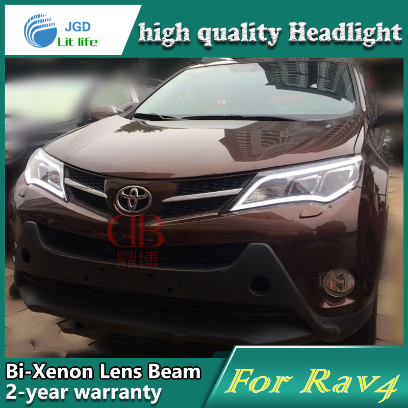 Car Styling Head Lamp case for Toyota RAV4 2014 LED Headlights DRL Daytime Running Light Bi-Xenon HID Accessories