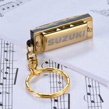 Suzuki Harmonica Mini 5 отверстий 10 тон брелок гармоника Ключ C Золотой духовой инструмент