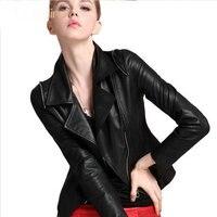 Бесплатная доставка Пояса из натуральной кожи куртка женская Кожаная куртка короткие локомотив кожаная куртка Тонкий черный овчины куртка