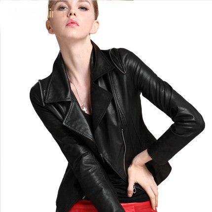 Livraison gratuite Véritable veste En Cuir Dames en cuir veste Courte Locomotive en cuir manteau slim noir en peau de mouton veste