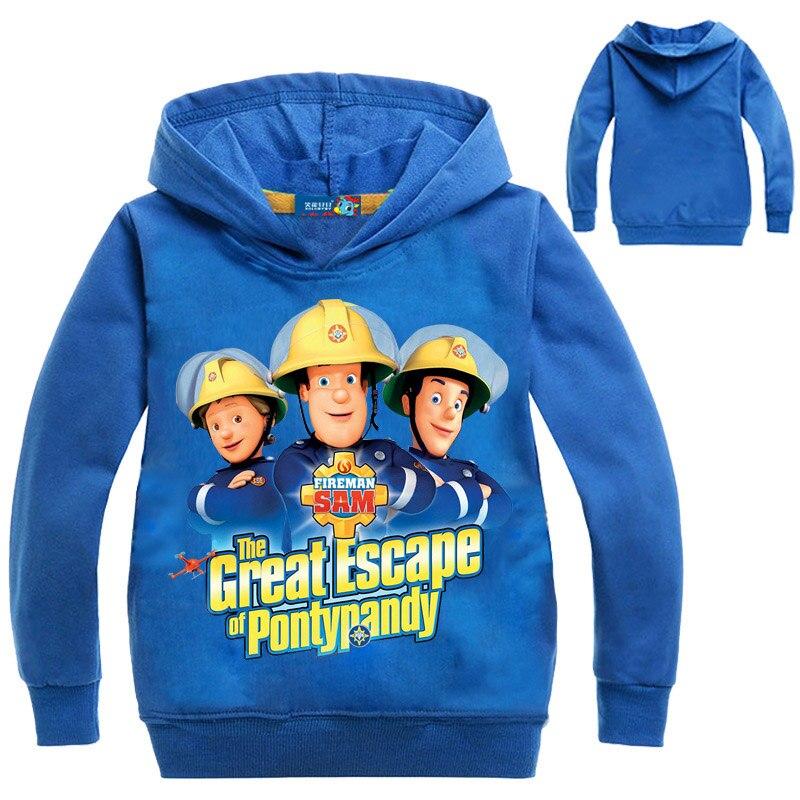 3-16Years Boys Hoodies 2018 Fireman Sam Clothes Girls Hooded Spring Jacket Long Sleeves cartoon Causal Outwear