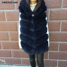 Jancoco Max 2019 Women Real Fox Fur Hooded Vest Top Quality Winter Thick Warm Natural Gilet S7236