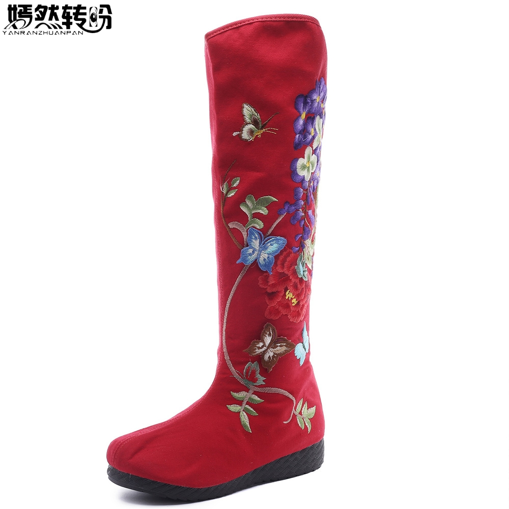 Vintage Chinese Women Boots Ethnic Floral Embroidery Knee Boots Retro Butterfly Embroidered Winter Warm Zipper Shoes Woman