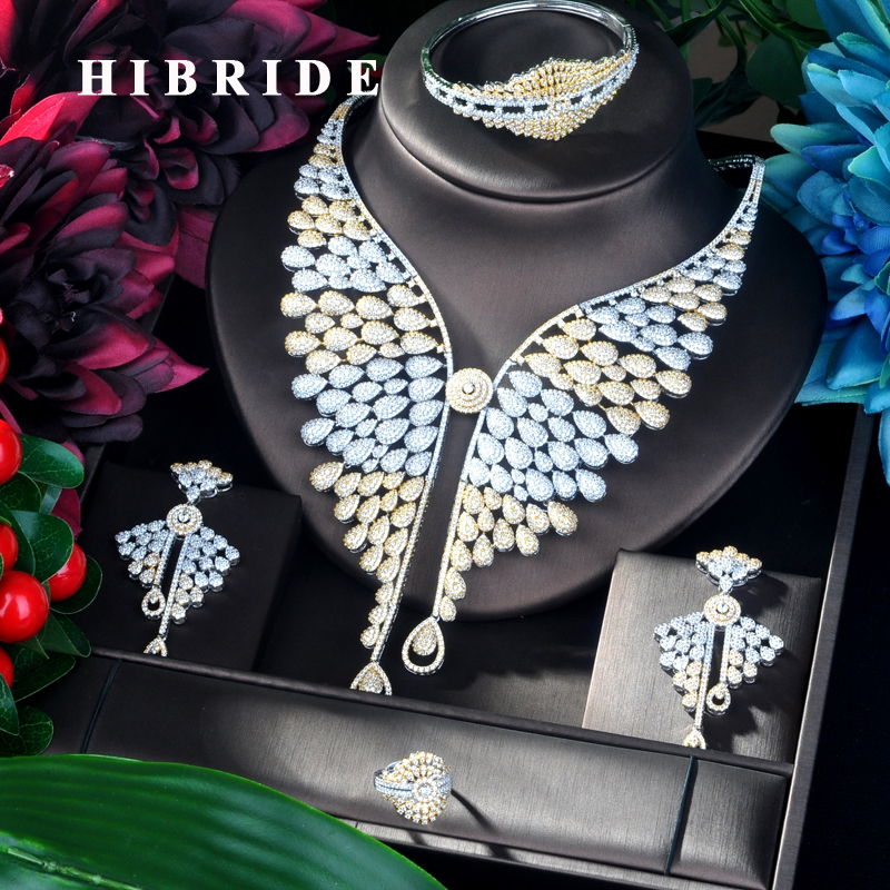 HIBRIDE Big 4 pcs Plant Shape Pendant Gold Color Luxury Women Jewelry Set For Bridal Party Accessories Jewelry Party Gifts N-919HIBRIDE Big 4 pcs Plant Shape Pendant Gold Color Luxury Women Jewelry Set For Bridal Party Accessories Jewelry Party Gifts N-919