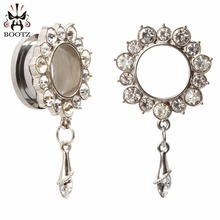 stainless steel silver crystal dangle ear piercings body jewelry plugs fashion tunnels hot selling design