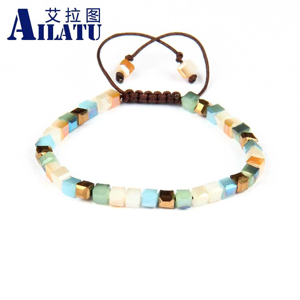 Ailatu Bling Bracelet Bohemia StyleCrystal Square Beads Braiding Friendship Colorful Jewelry