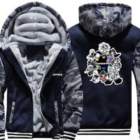 US SIZE Men's Hoodies Game Undertale Printed Sweatshirts Thicken Fleece Sans Papyrus Men Camo Jackets Zipper Hooded Coats