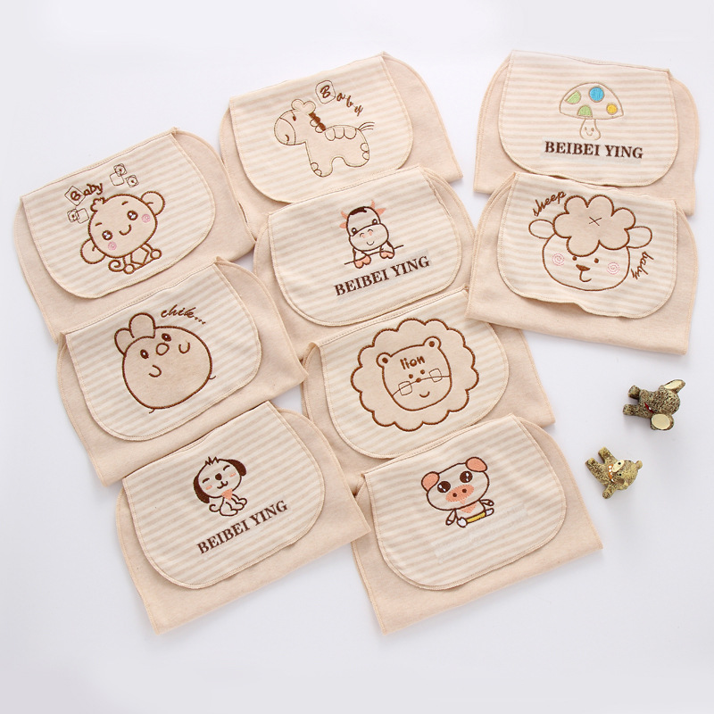 New Baby Absorbent Towels Baby Sweat Towel Cartoon Embroidered Natural Color Cotton Baby Pad Back Towel Baby Stuff 9 Colors