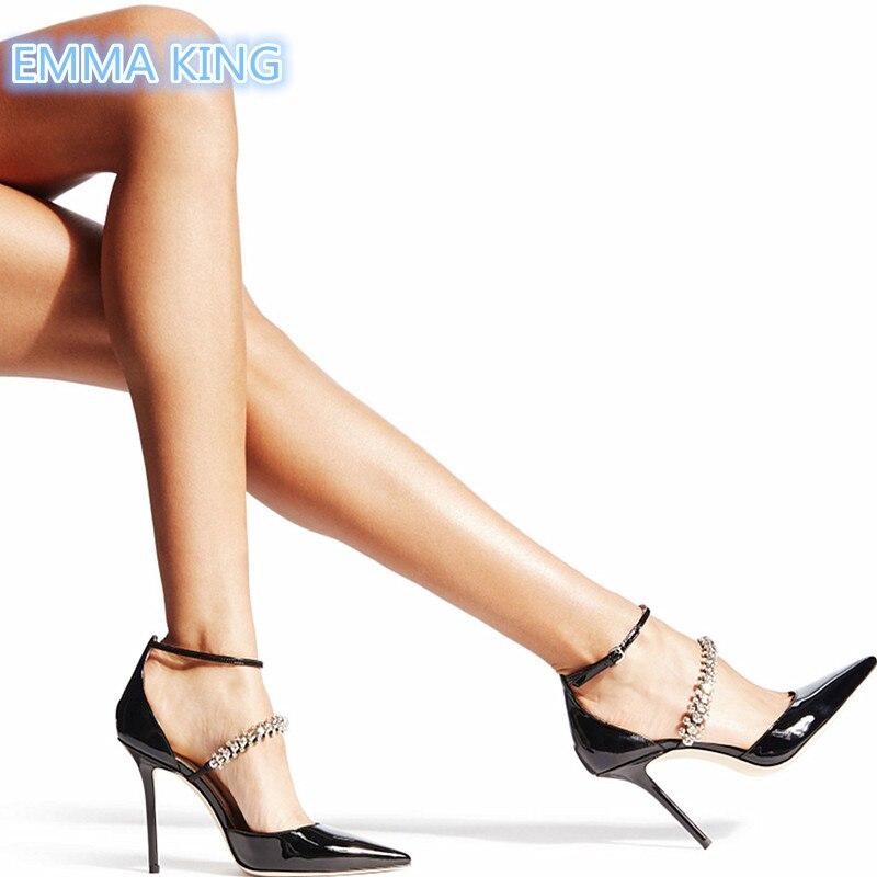 Stilettos Frauen Heel Pumpen Knöchel Neue Strap Dekoriert Schuhe Sandalen As Zehen High Patent Sexy Schnalle Leder Spitze 2019 Picture Schwarz Diamant 6qYTw7q0