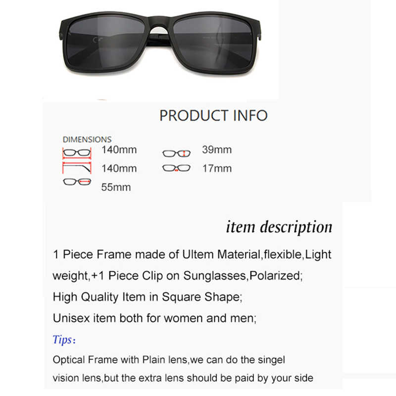 00386d8b43 ... ESNBIE Mens Polarized Clip on Sun Glasses with Men Glasses Optical Nerd Glasses  Frame Ultem Flexible