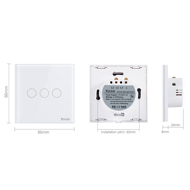 TUCLIX EU/UK  3 Gangs 1 Way Remote Control Touch Switch Remote Wall Lamp Switch Crystal Lace Of Toughened Glass Black