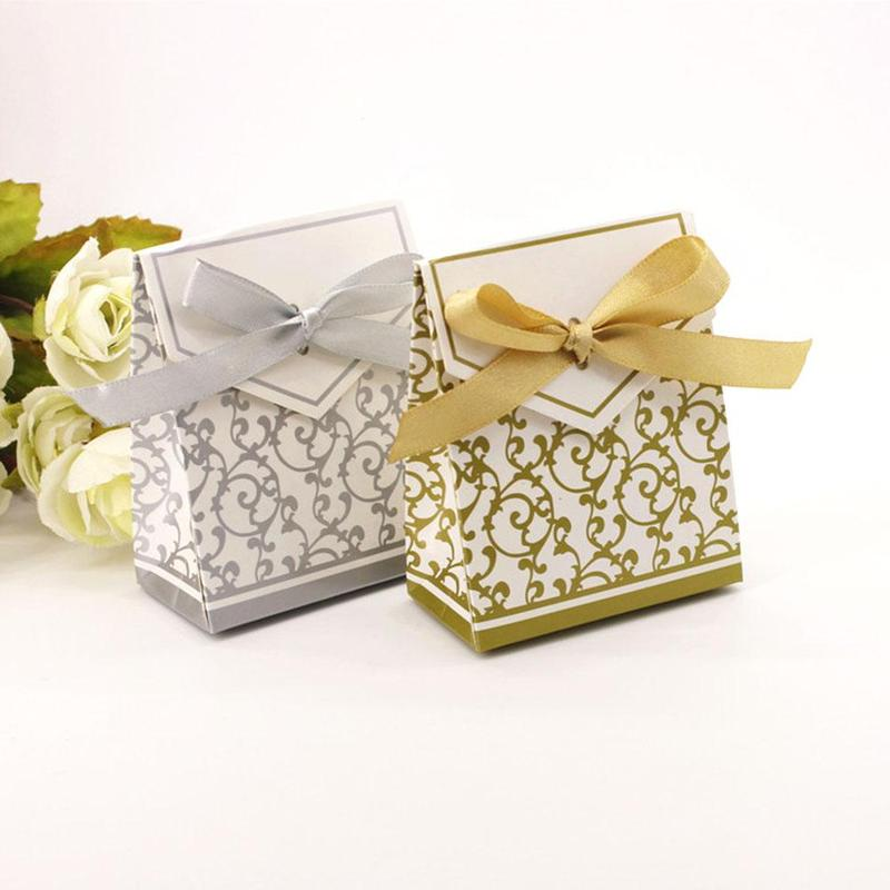 Wedding Gift Table Ideas: 50pcs Gold Silver Wedding Sweets Candy Gift Favour Boxes
