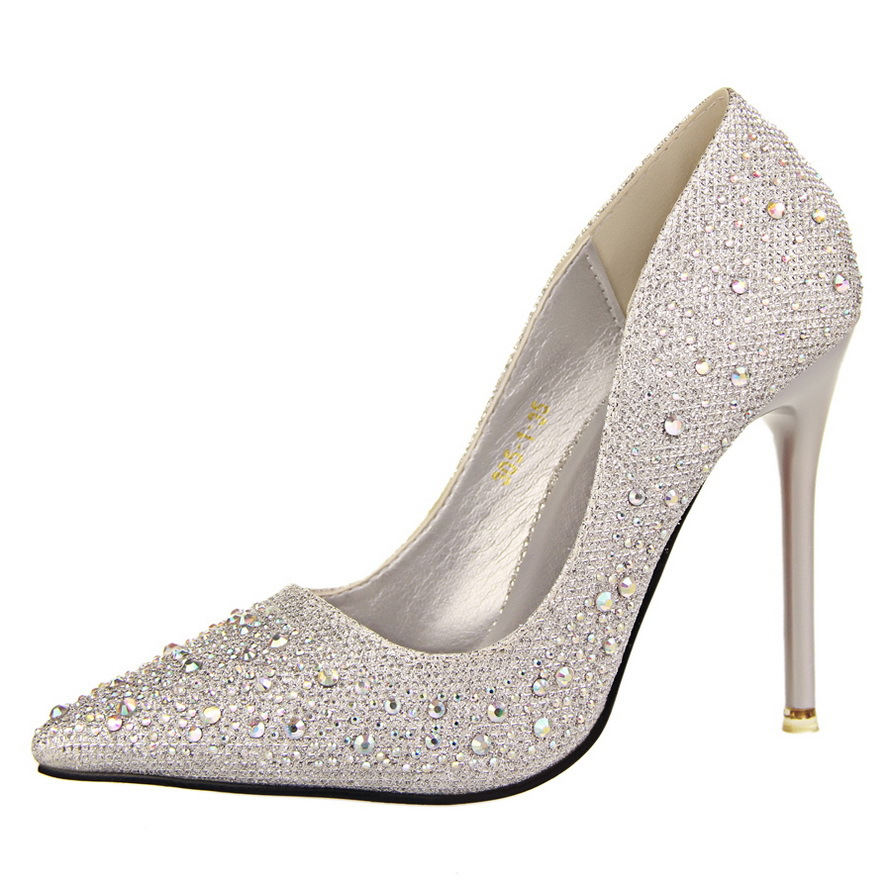 062fd22b30 US $21.5 20% OFF 2019 New Fashion Sexy Women Silver Rhinestone Wedding  Shoes Platform Pumps Red Bottom High Heels Crystal Shoes Gold Black Pink-in  ...