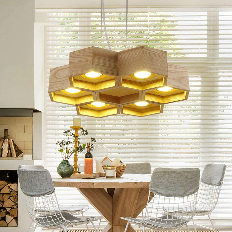 Designer art creative personality hanging lights restaurant living room lamps bedroom fir willow wood Pendant Lights artistic creative personality restaurant lights bar hanging lights simple honeycomb solid wood pendant lamps chandelier