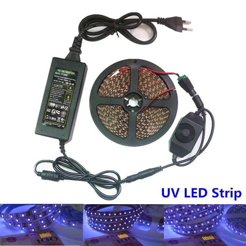 Lovely Uv Led Strip Light 3528 Smd 60/120leds/m 395-405nm Ultraviolet Ray Led Diode Ribbon Purple Flexible Tape Lamp + Power Adapter